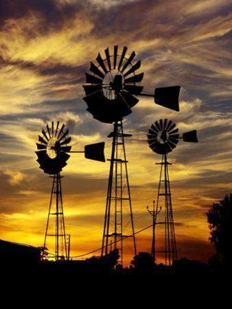 Windmills at Sunset in Penong, Australia