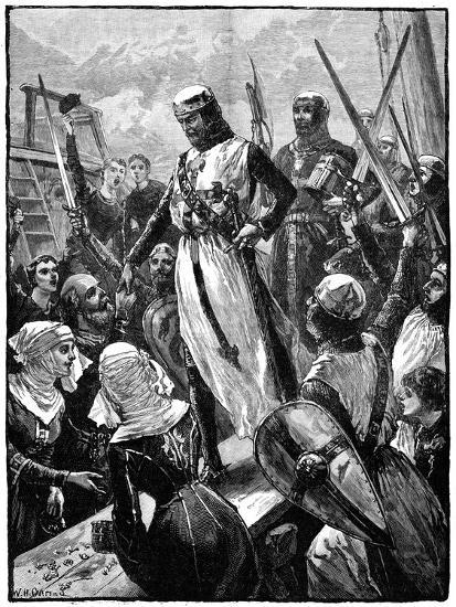 Richard I, Coeur De Lion Landing at Sandwich, March 1194-William Heysham Overend-Giclee Print