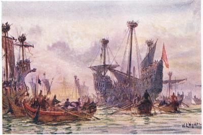 Richard I in Action with the Saracen Ship, 1915-William Lionel Wyllie-Giclee Print