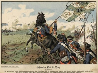 Death of Field Marshal Von Schwerin at the Battle of Prague