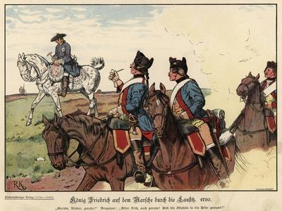 Frederick the Geat of Prussia on the March across Lausitz