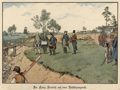 Frederick the Great of Prussia Inspecting Civil Engineering Works