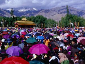 Audience at Dalai Lama Sermon and Zansker Range in Distance, Choglamsar by Richard l'Anson