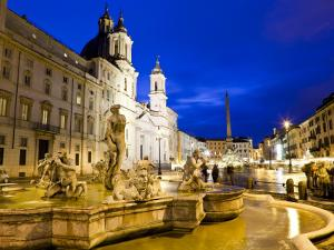Fontana Del Moro and Church of Sant'Agnese in Agone at Piazza Navona by Richard l'Anson