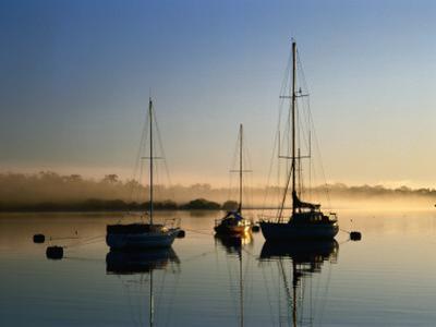 Moored Boats at Sunrise