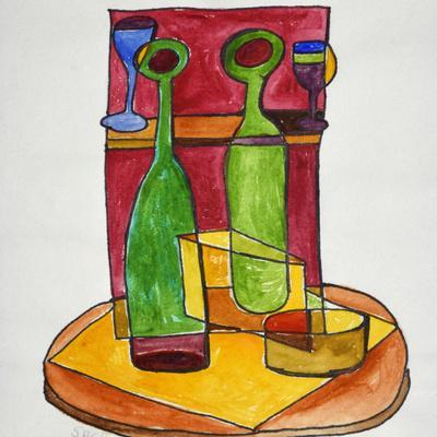 A cubist, abstract still life of wine and cheese. Add a bit of baguette and you have lunch.