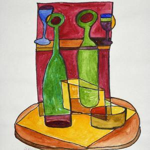 A cubist, abstract still life of wine and cheese. Add a bit of baguette and you have lunch. by Richard Lawrence