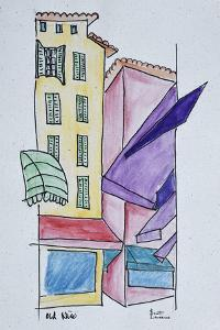 Abstract watercolor of Old Nice, Nice, France by Richard Lawrence