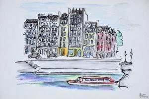 Bateaux mouche boat travels along the Seine river, Ile Saint-Louis, Paris, France by Richard Lawrence