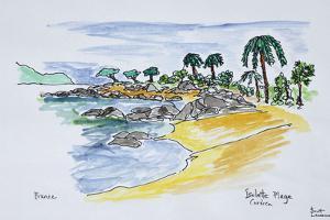 Coastline along Isolella beach, Ajaccio, Corsica, France by Richard Lawrence