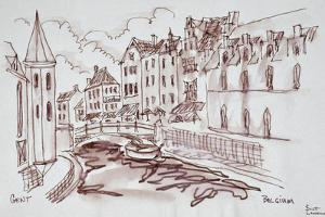 Flemish architecture along a canal, Ghent, Belgium by Richard Lawrence