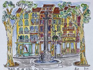 Fountain in Place de L'Hotel de Ville, Aix en Provence, France. by Richard Lawrence