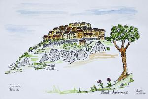 Hilltop village of Sant'Antonino, Corsica, France by Richard Lawrence