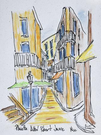 Narrow streets along Placette Abbe Robert Jarred, Old Nice, Nice, France