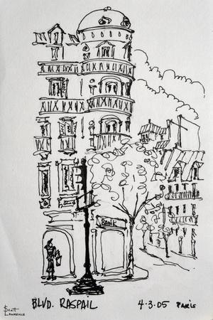 Raspail in Paris, France shows typical Haussmann Parisian Architecture.
