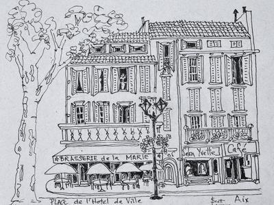 Restaurants in Place de L'Hotel de Ville, Aix en Provence, France.