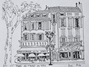 Restaurants in Place de L'Hotel de Ville, Aix en Provence, France. by Richard Lawrence