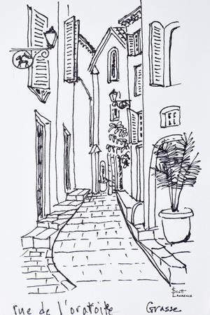 View along Rue de l'oratoire, Grasse, France