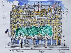View of the Bank of France from the terrace of the Hotel Lutecia on Boulevard Raspail, Paris by Richard Lawrence