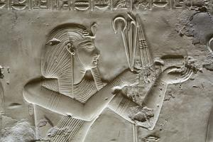 Bas-Relief of Pharaoh Seti I, Temple of Seti I, Abydos, Egypt, North Africa, Africa by Richard Maschmeyer