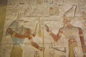 Bas-Relief of the God Anubis on Left and Ramses Ii on Right by Richard Maschmeyer