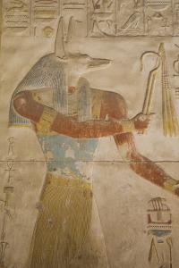 Bas-Relief of the God Anubis, Temple of Seti I, Abydos, Egypt, North Africa, Africa by Richard Maschmeyer
