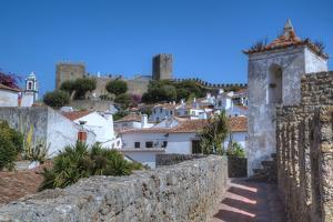 City overview with Wall and Medieval Castle in the background, Obidos, Portugal, Europe by Richard Maschmeyer