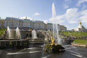 Great Cascade with Great Palace in the background, Peterhof, UNESCO World Heritage Site, near St. P by Richard Maschmeyer