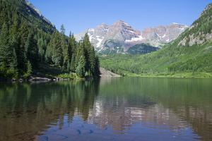 Maroon Lake and Maroon Bells Peaks in the background, Maroon Bells Scenic Area, Colorado, United St by Richard Maschmeyer