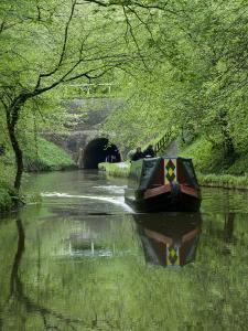 Narrow Boat Cruising the Llangollen Canal, England, United Kingdom, Europe by Richard Maschmeyer