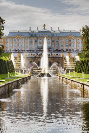 Samson Fountain, Great Palace, view from Sea Canal, Peterhof, UNESCO World Heritage Site, near St.