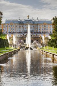 Samson Fountain, Great Palace, view from Sea Canal, Peterhof, UNESCO World Heritage Site, near St. by Richard Maschmeyer