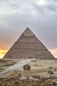 Sunset, Sphinx in Foreground and the Pyramid of Chephren, the Pyramids of Giza by Richard Maschmeyer