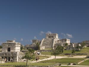 Templo De Las Pinturas on Left with El Castillo on Right at the Mayan Ruins of Tulum by Richard Maschmeyer
