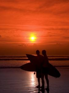 Two Surfers Calling it a Day, Kuta Beach, Bali, Indonesia, Southeast Asia, Asia by Richard Maschmeyer
