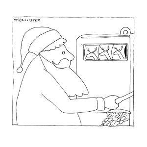 Santa Claus hits the jackpot at a slot machine when three reindeer come up? - New Yorker Cartoon by Richard McCallister