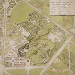 Plan général des jardins français et champêtre du Petit Trianon avec les masses des bâtiments by Richard Mique