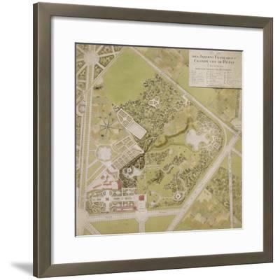 Plan général des jardins français et champêtre du Petit Trianon avec les masses des bâtiments