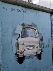 A Trabant Car Painted on a Section of the Berlin Wall Near Potsdamer Platz, Mitte, Berlin, Germany by Richard Nebesky