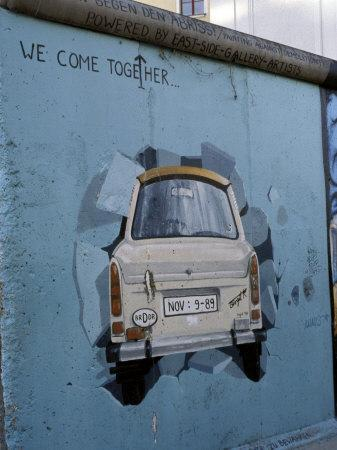 A Trabant Car Painted on a Section of the Berlin Wall Near Potsdamer Platz, Mitte, Berlin, Germany