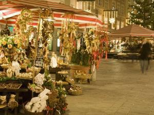 Altermarkt Christmas Market at Night, Altermarkt Square, Salzburg, Austria, Europe by Richard Nebesky