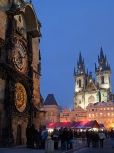 Astronomical Clock of Gothic Old Town Hall, Stalls of Christmas Market, Prague by Richard Nebesky
