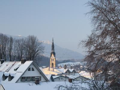 Bad Tolz Spa Town Covered By Snow at Sunrise, Bavaria, Germany
