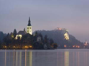Baroque Church of Assumption on Bled Island with Renaissance Bled Castle by Richard Nebesky