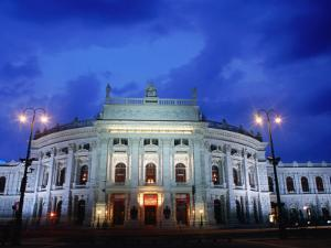 Burgtheater at Dusk, Innere Stadt, Vienna, Austria by Richard Nebesky