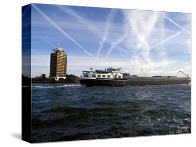 Cargo Boat on the River Ij, Amsterdam, the Netherlands (Holland)
