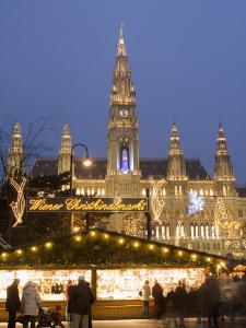 Christkindlmarkt and Rathaus at Rathausplatz at Twilight by Richard Nebesky