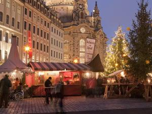 Christmas Market Stalls in Front of Frauen Church and Christmas Tree at Twilight, Dresden by Richard Nebesky