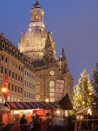 Christmas Market Stalls in Front of Frauen Church and Christmas Tree at Twilight, Dresden