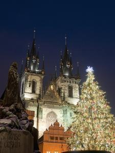 Christmas Tree, Gothic Tyn Church and Statue of Jan Hus, Old Town Square, Stare Mesto, Prague by Richard Nebesky
